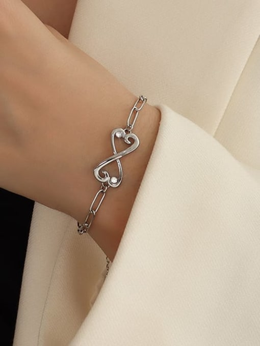 Steel Butterfly Bracelet 16+5cm Titanium Steel Cubic Zirconia Bowknot Minimalist Link Bracelet