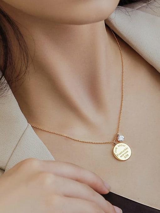 P975 gold big 40+5cm Titanium Steel Geometric Minimalist Necklace