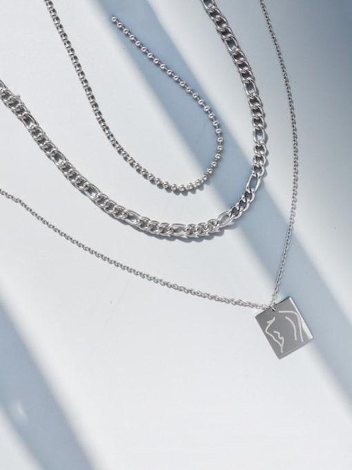 Steel three layer Necklace Titanium Steel Geometric Vintage Multi Strand Necklace