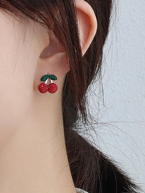 F290 steel full drill Cherry Earrings Titanium 316L Stainless Steel Rhinestone  Minimalist Friut Earring and Necklace Set with e-coated waterproof