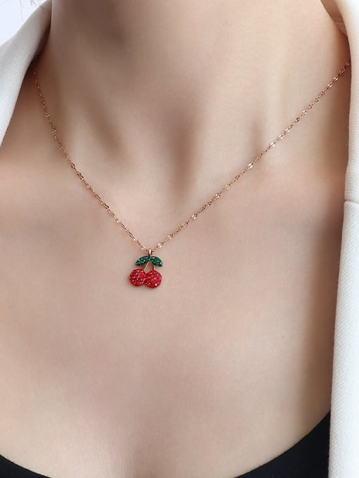 P605 Rose Gold Diamond cherry Necklace Titanium 316L Stainless Steel Rhinestone  Minimalist Friut Earring and Necklace Set with e-coated waterproof