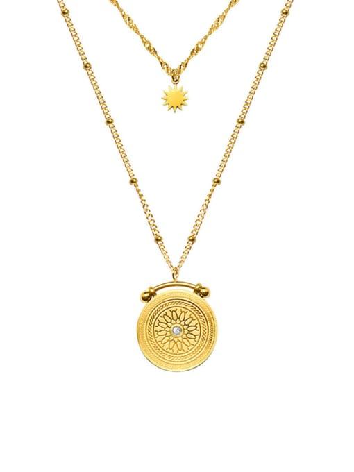 Gold Double necklaces Titanium Steel Cubic Zirconia Geometric Vintage Multi Strand Necklace
