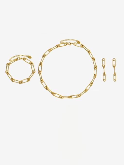 MAKA Titanium Steel Vintage Geometric  Earring Braclete and Necklace Set 0