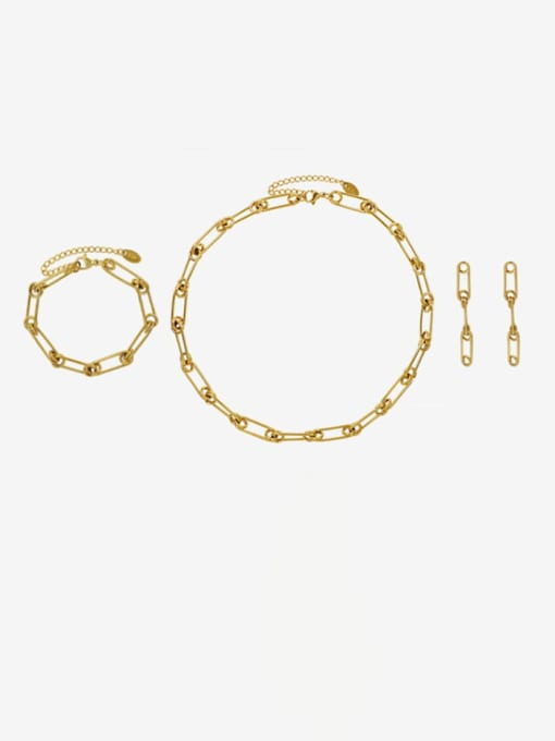MAKA Titanium Steel Vintage Geometric  Earring Braclete and Necklace Set