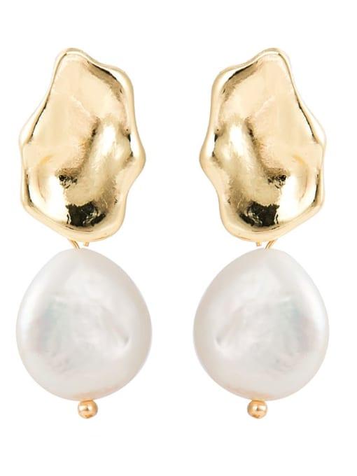 YAYACH Creative Korean Pearl Earrings European and American temperament dumb gold geometric female Earrings 3
