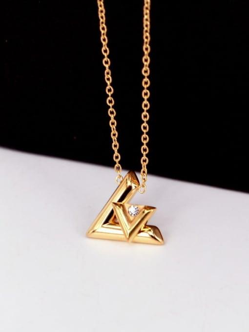 K.Love Titanium Steel Rhinestone Letter Minimalist Necklace 3