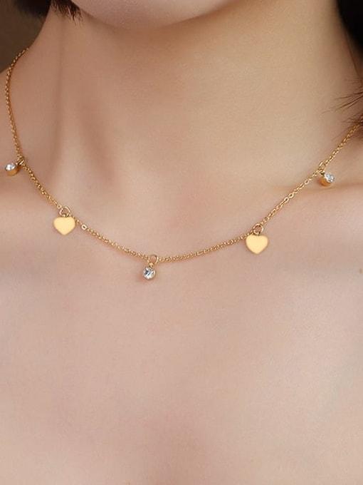 MAKA Titanium 316L Stainless Steel Rhinestone Heart Minimalist Necklace with e-coated waterproof 1