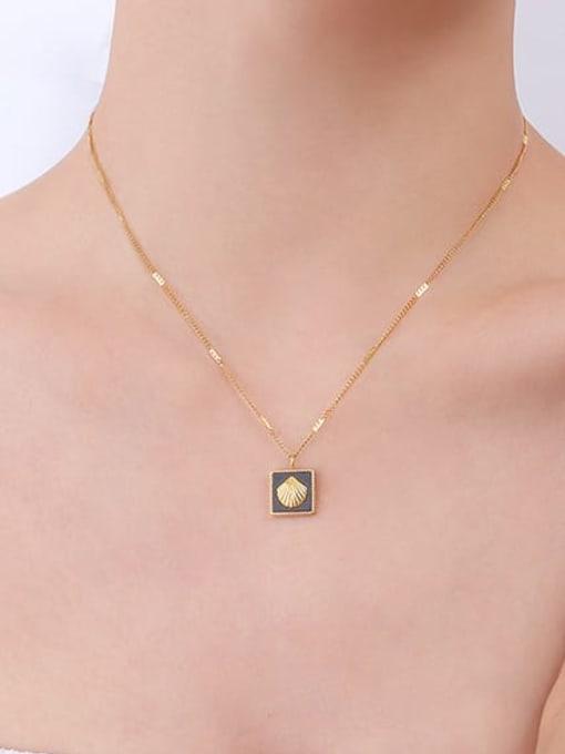 MAKA Titanium Steel Enamel Minimalist Square Earring and Necklace Set 1