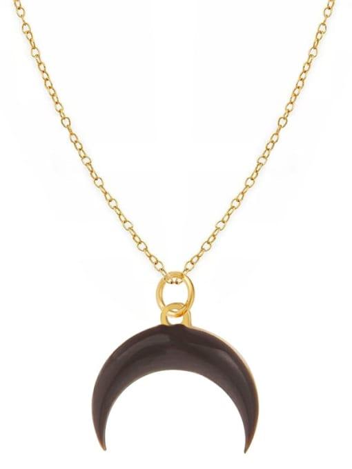 YAYACH Fashion Candy Color Water Drop Crescent Pendant Titanium Steel Necklace 1