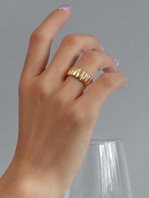 MAKA Titanium Steel Geometric Vintage Band Ring 1