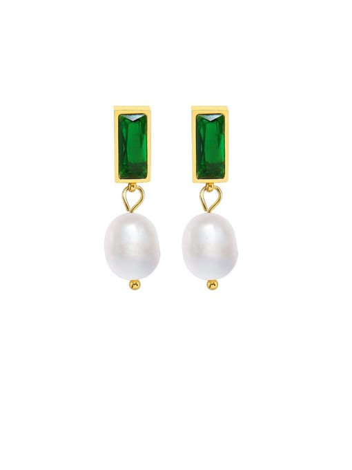gold +Green Titanium Steel Glass Stone Geometric Ethnic Drop Earring