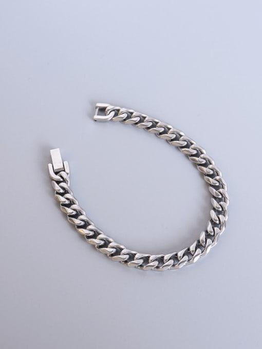 Steel color Titanium Steel Geometric Chain Vintage Link Bracelet
