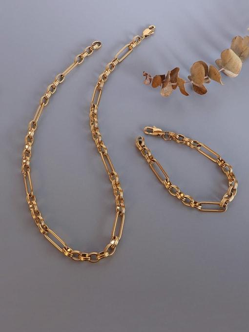 MAKA Titanium Steel  Vintage GeometricBraclete and Necklace Set