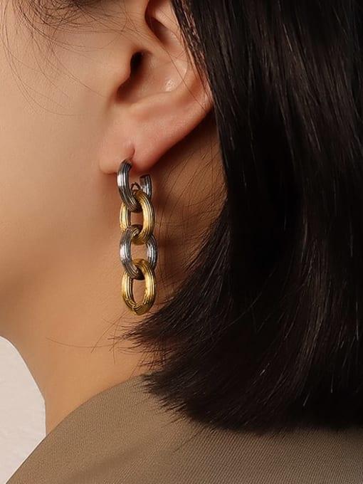 MAKA Titanium Steel  Hip Hop Geometric Earring and Bangle Set 3