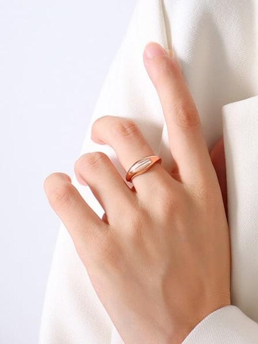 A113 Rose Ring Titanium Steel  Smooth Geometric Minimalist Band Ring