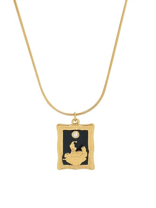 P078 gold necklace 40 5cm Titanium Steel Enamel Geometric Vintage Necklace