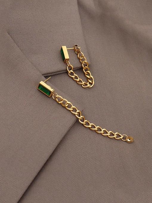 gold +Green Zircon Titanium Steel Cubic Zirconia Geometric Chain Ethnic Drop Earring