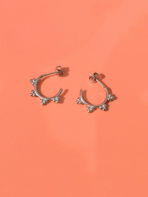 MAKA Titanium Steel Bead Triangle Minimalist Stud Earring 2