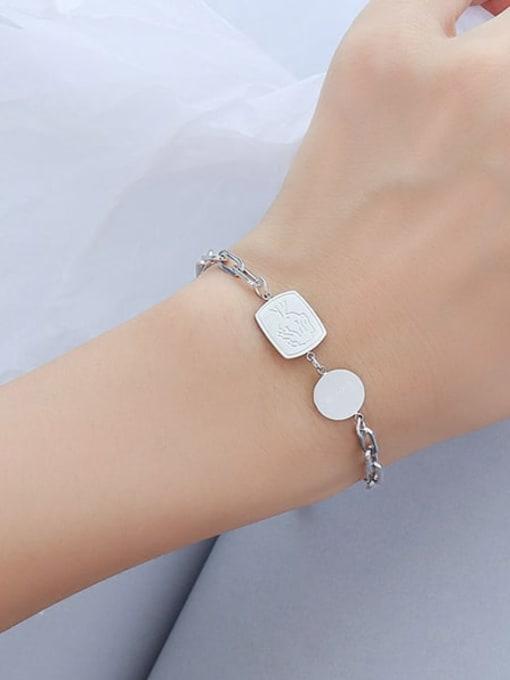 E097 steel bracelet 15+ 5cm Titanium Steel Geometric Minimalist Link Bracelet