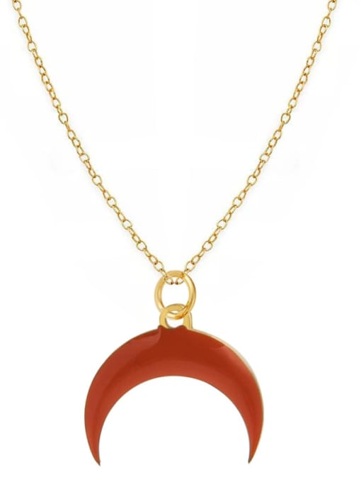 Red Fashion Candy Color Water Drop Crescent Pendant Titanium Steel Necklace