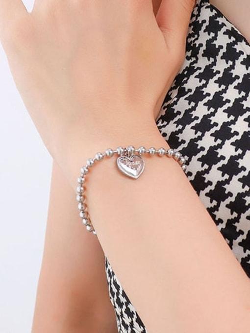 E015 steel peach heart bracelet 17 +5cm Titanium Steel Bead Heart Minimalist Beaded Bracelet