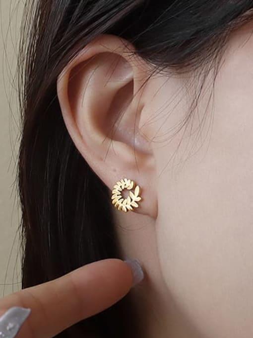 surrounded by golden leaves Titanium Steel Flower Minimalist Stud Earring