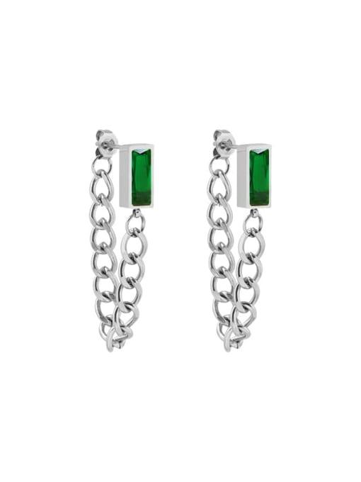 steel +green Zircon Earrings Titanium Steel Cubic Zirconia Geometric Chain Ethnic Drop Earring