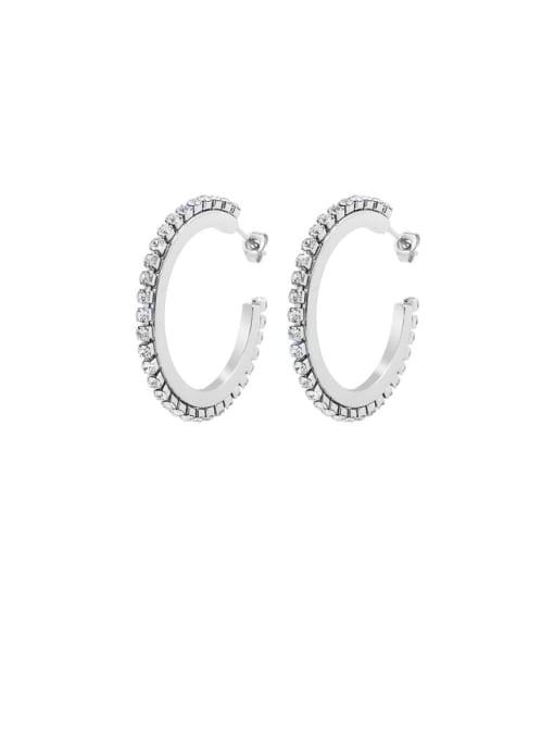 steel+white Zircon Titanium Steel Cubic Zirconia Geometric Vintage Hoop Earring