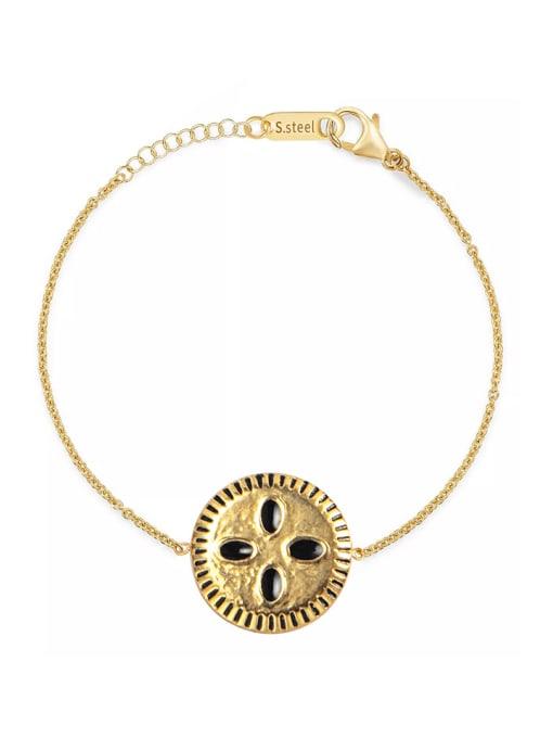 YAYACH Stainless steel Enamel Round Trend Link Bracelet 0