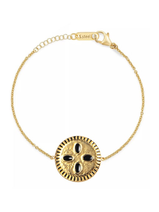 YAYACH Stainless steel Enamel Round Trend Link Bracelet