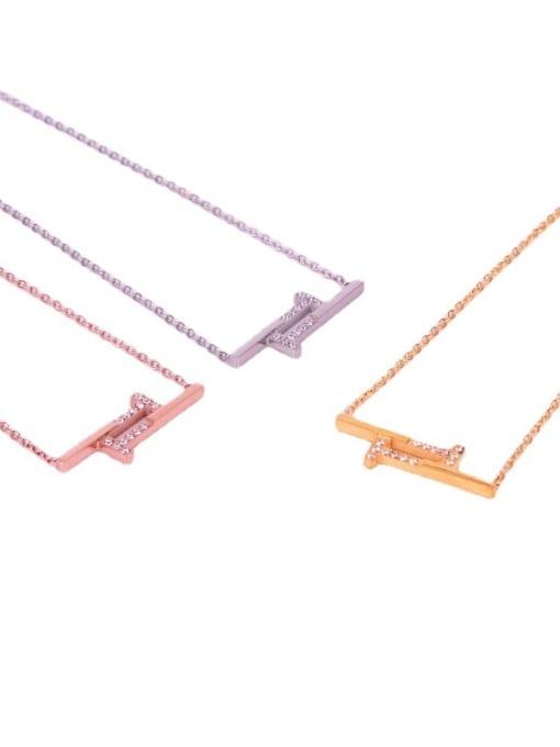 K.Love Titanium Steel Rhinestone Geometric Minimalist Necklace