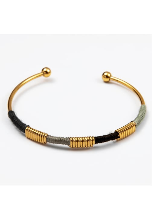Color Stainless steel color thread ethnic style open bracelet