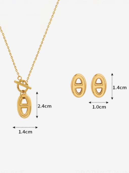 MAKA Titanium Steel Minimalist Geometric  Earring and Necklace Set 1