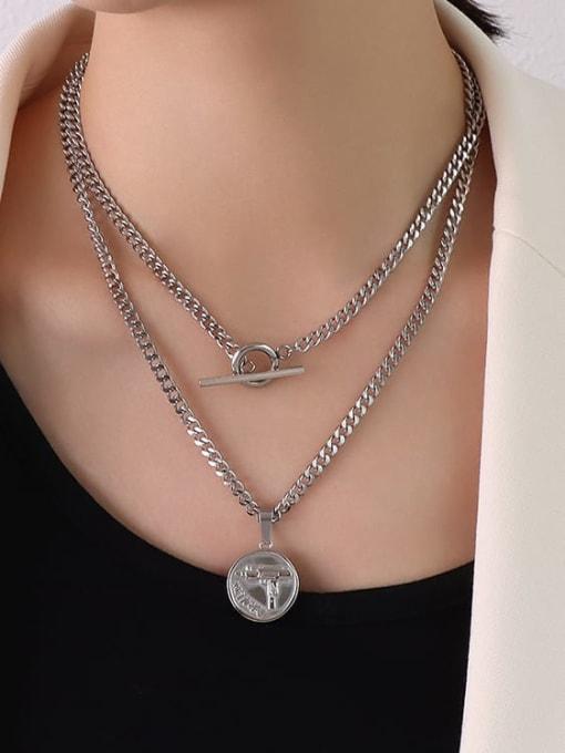 P1107 Steel Necklace 88cm Titanium Steel Geometric Hip Hop Multi Strand Necklace