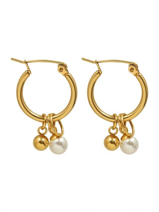 gold Titanium Steel Bead Geometric Hip Hop Huggie Earring
