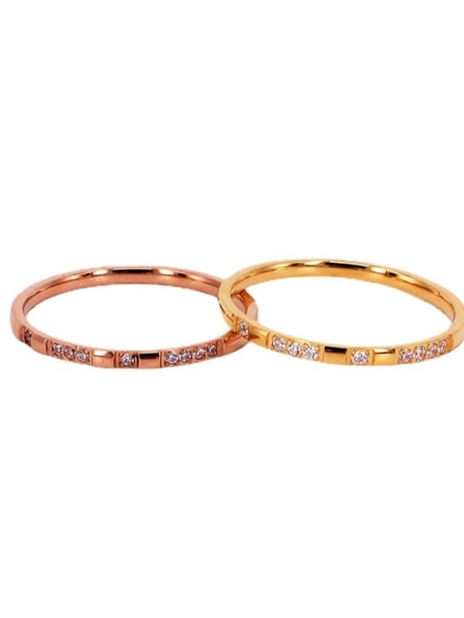 K.Love Titanium Steel Cubic Zirconia Geometric Minimalist Band Ring 0