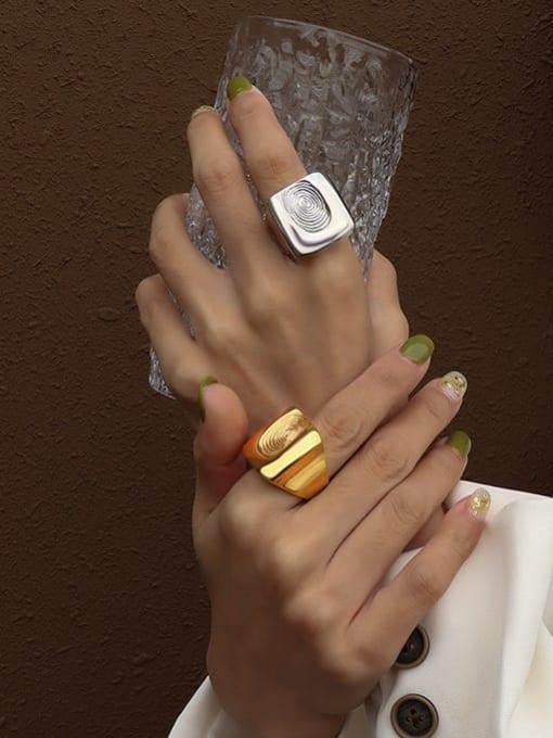 MAKA Titanium Steel Irregular Artisan Band Ring 3