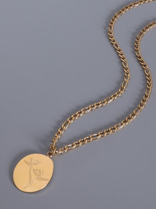 Gold Leaf Necklace 40+5cm Titanium Steel Geometric Minimalist Necklace
