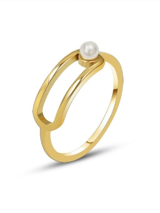 MAKA Titanium 316L Stainless Steel Imitation Pearl Geometric Minimalist Band Ring with e-coated waterproof 2