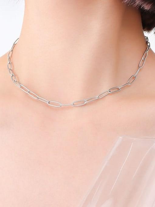 P495 bright steel necklace 39cm Titanium Steel Geometric Minimalist Necklace