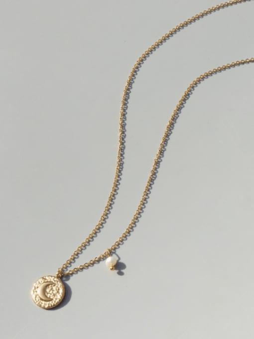 MAKA Titanium Steel Imitation Pearl Moon Vintage Necklace 2