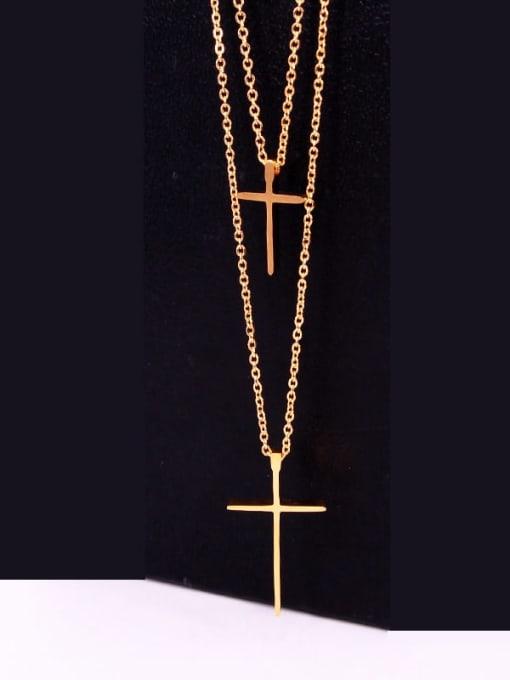 K.Love Titanium Steel Cross Minimalist Multi Strand Necklace 3