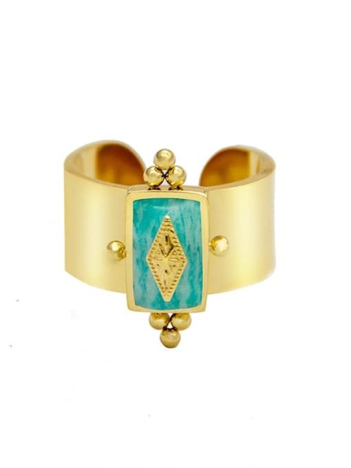 Green Fashion golden natural stone geometric titanium steel ring