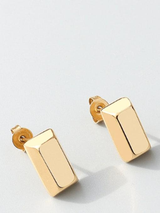 gold Titanium Steel Smooth Geometric Minimalist Stud Earring