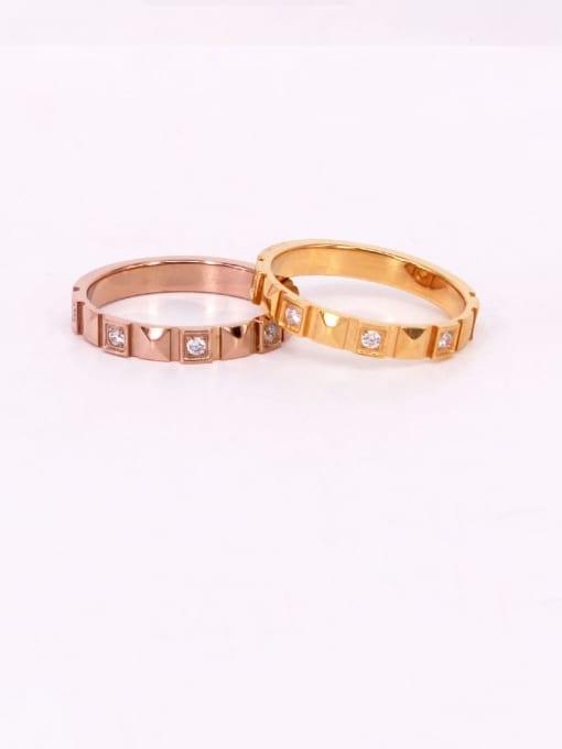 K.Love Titanium Steel Rhinestone Geometric Vintage Band Ring