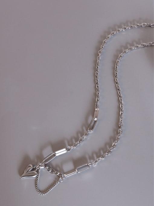 P844  heart with tassel Steel  44+5cm Titanium Steel Artisan Heart Braclete and Necklace Set