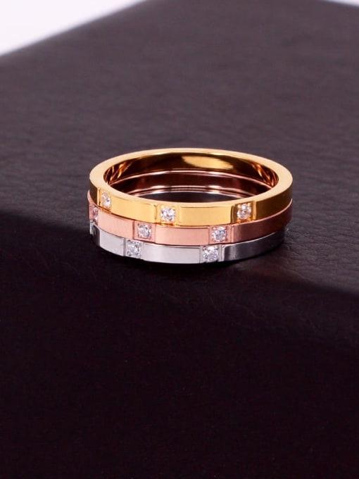K.Love Titanium Steel Rhinestone Geometric Minimalist Band Ring