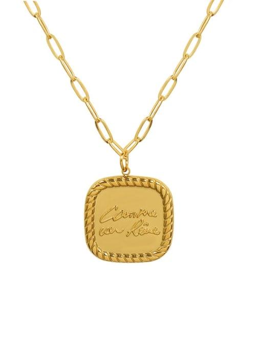 Gold Square Necklace 405cm Titanium Steel Geometric Minimalist Necklace