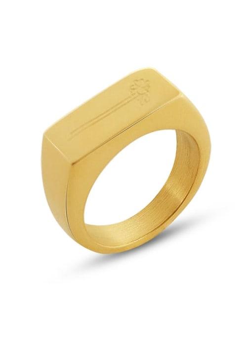 MAKA Titanium Steel Smooth Geometric Minimalist Band Ring 0