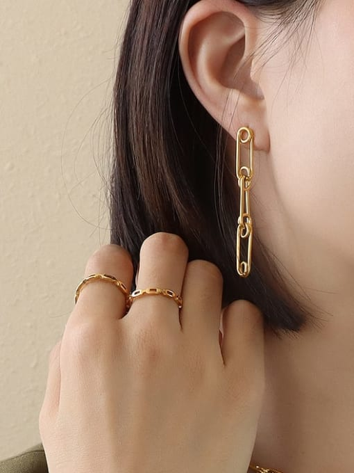 gold earrings with f449 pins Titanium Steel Vintage Geometric  Earring Braclete and Necklace Set